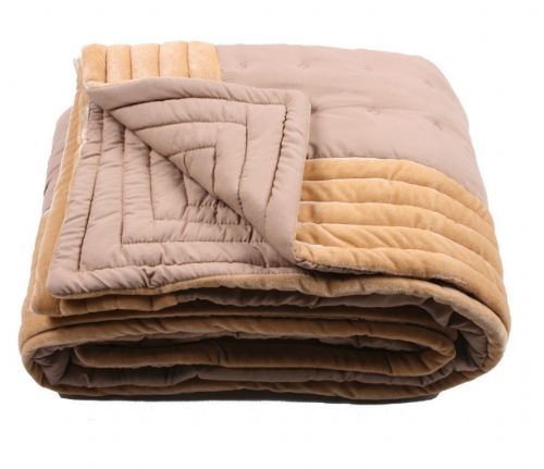 LATTE BEIGE COLOUR DESIGNER QUILTED MICROFIBRE VELVET TEXTURED THROW